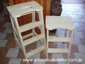 Artesania en pino for Banqueta escalera plegable